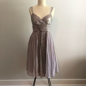 Silver dress with sheer overlay, lacy details